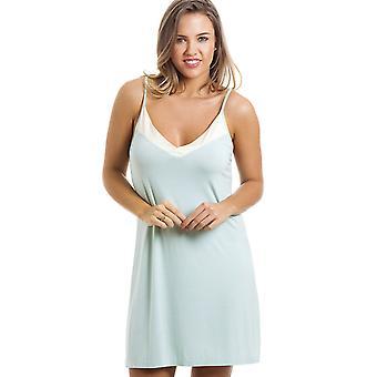 Camille rodilla elegante vestido espaguetis correa menta Chemise verde camisón