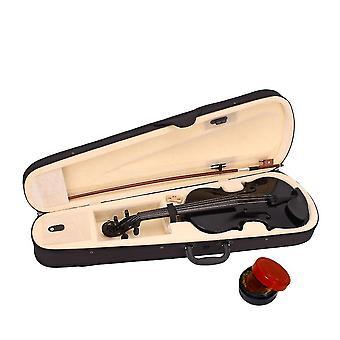 1 Ensemble de haute qualité acoustique violon cas Bow Rosin Kit étudiants instruments de musique pour l'école à domicile (noir)
