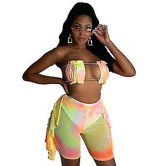 Damen Sexy Triangle Baden Zwei Teile Badeanzug Bikini Set (L)