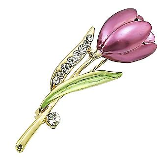 Exquisite Ladies Brooch Tulip Corsage Diamond Inlaid Painted Alloy Brooch Pin