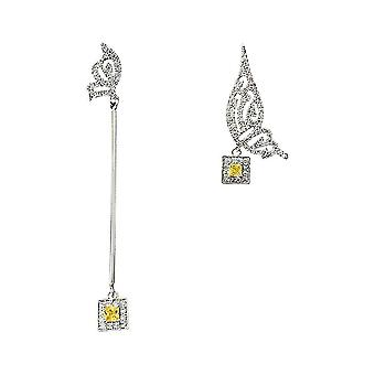 Earrings Needle Micro-inlaid Asymmetric Wings S925 French Jeweled For Wedding