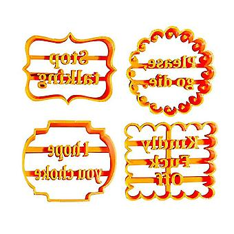 4pcs Cookie Molds With Rude Sayings Cuss Words