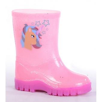 Stormwells Unicorn Girls Wellington Boots Pink Sparkle
