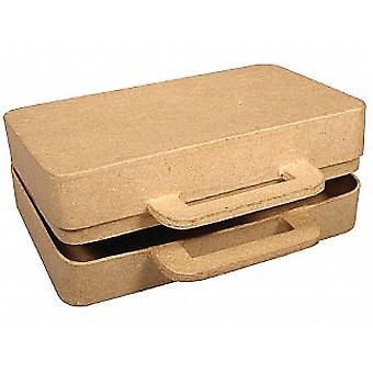 16cm små papper mache resväska att dekorera   Papier mache former