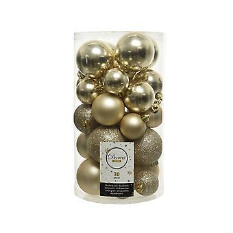 30 Champagne Gold Shatterproof Julgran Bauble Dekorationer i blandad storlek