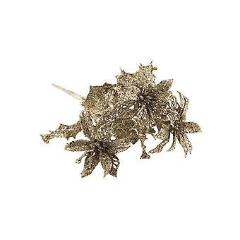 24cm Glittered Poinsettia Floristry Pick | Champagner