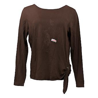 Belle af Kim Grus Kvinders Top Lange Ærmer T-Shirt Cotton Brown