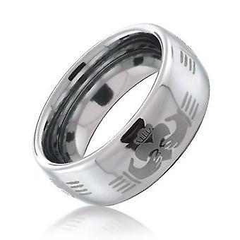 Grabado Celtic Irish BFF Claddagh Parejas titanium wedding band anillos para hombres para mujeres silver tone comfort fit 8MM