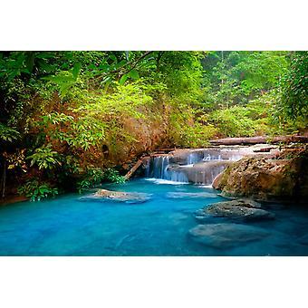 Tapeta Mural Erawan Cascade Waterfall w Tajlandii
