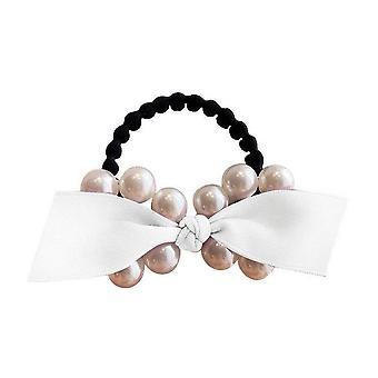 2PCS Sweet Bows Elastic Hair Bands Korean Style Pearls Women Hair Rope Hair Ties Ponytail Holder