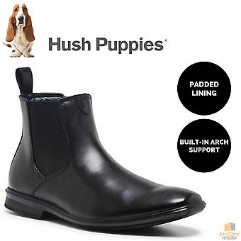 Men's hush puppies chelsea leather boots shoes slip on work comfort - ew
