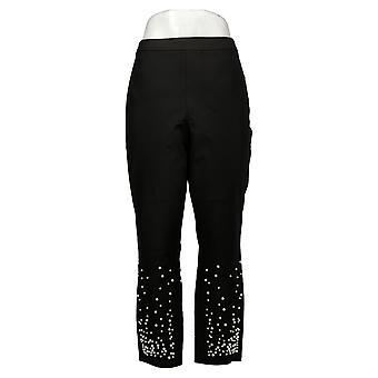 Isaac Mizrahi Live! Pantaloni Petite Da donna Stretch Faux Pearl Hem Black A345578
