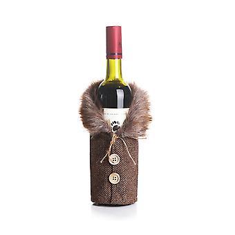 عيد الميلاد زجاجة النبيذ يغطي زجاجة الشمبانيا يغطي حقيبة رأس السنة الجديدة عيد الميلاد حزب المنزل الجدول الديكور