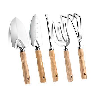 5 PCS haveredskaber Sæt håndværktøj i rustfrit stål plantning havearbejde værktøjssæt