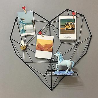 Iron Heart Shape Grid Stojak na zdjęcia Uchwyt do przechowywania Półka Home Decor Wall Hanging Mesh Panel