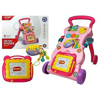 Loopwagen baby - Interactief - 45 cm - met teken bord - Roze