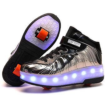 I bambini hanno guidato scarpe illuminate con ruote, scarpe pattini a rotelle
