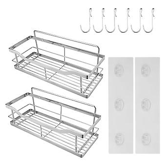 Douche Caddy 2-pack zelfklevende badkamer opbergplank keuken rack organisatoren