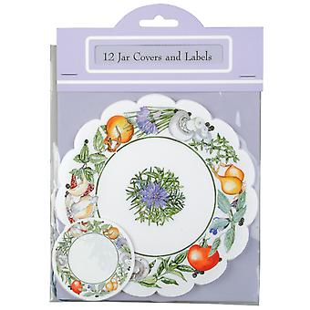 Traditional Chutney Jar Cover & Labelling Set, Pack of 12
