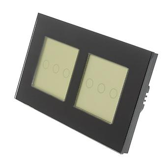 I LumoS Black Glass Double Frame 6 Gang 2 WayTouch LED Light Switch Gold Insert