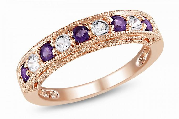 Affici Sterling Silver Half Eternity Ring 18ct Rose Gold Plated ~ Band of Amethyst & Diamond CZ Gems