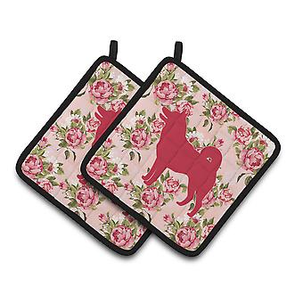 Shiba Inu Shabby Chic Pink Roses  Pair of Pot Holders
