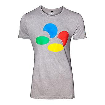 Nintendo Valvottu painiketta miesten harmaa t-paita pieni (TS289010NTN-S)