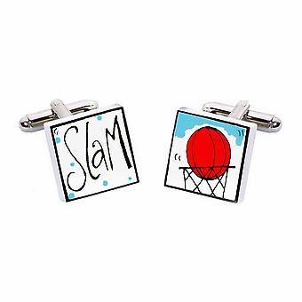 Slam Dunk abotoaduras por Sonia Spencer, na apresentação de caixa de presente. Basquete