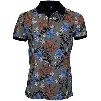 GANT Multi Flower Print Pique Rugger Polo Shirt, Blue/Grey