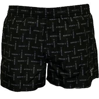 Guess Logo Allover Print zwemmen Shorts In een tas, zwart