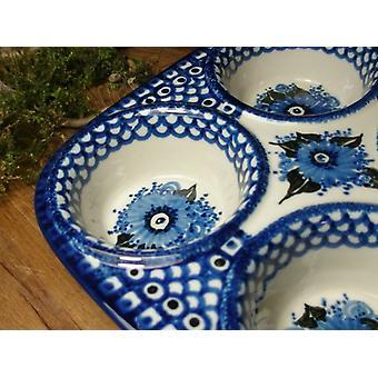 Tepsiben, 29 x 20 x 4 cm, 6 vályú, egyedi 2-Bunzlauer porcelán-BSN 6433