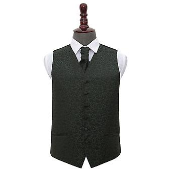 Svart & Grön virvel bröllop väst & Cravat Set