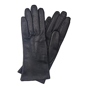 Mia V Classic Leather Gloves in Navy Blue