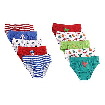 Boys Tom Franks Kids 100% Cotton Printed Slip Briefs pants underwear 10 Pack