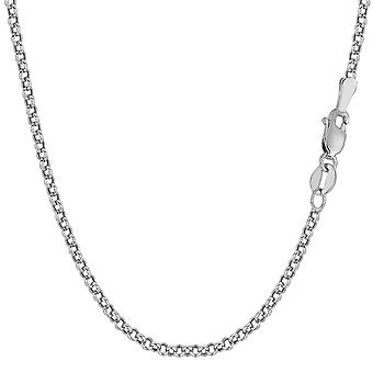 10k White Gold Round Rolo Link Chain Necklace, 2.3mm