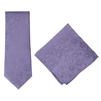Michelsons of London Subtle Floral Silk Tie and Pocket Square Set - Lilac