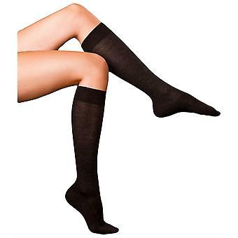 Falke mejores No3 Merino y seda rodilla alta calcetines - mezcla de antracita