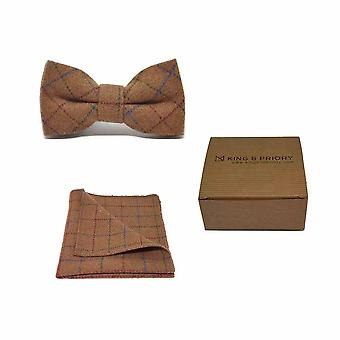 Heritage Check Rustic Brown Men's Bow Tie & Pocket Square Set | Boxed