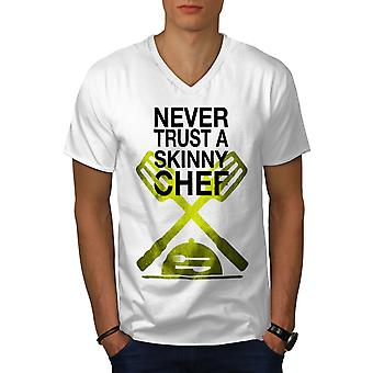Skinny Chef Men WhiteV-Neck T-Shirt | Wellcoda