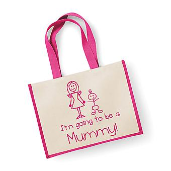 Large Pink Jute Bag I'm Going To Be A Mummy
