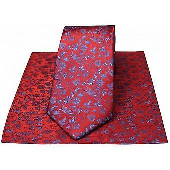 David Van Hagen ensemble de mouchoir et une petite cravate Floral - rouge/bleu
