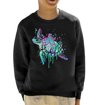 Sea Turtle Paint Splat Kid's Sweatshirt