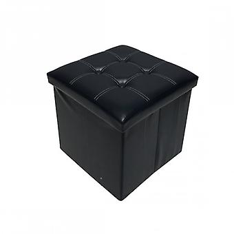 Meubles Rebecca Cube Baule Pouf Space Puff Padded Blue Ecopelle 38x38x38