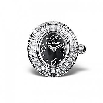 Timebeads Black & CZ Oval Watch Charm with Clip Fastening TB2001CZBK