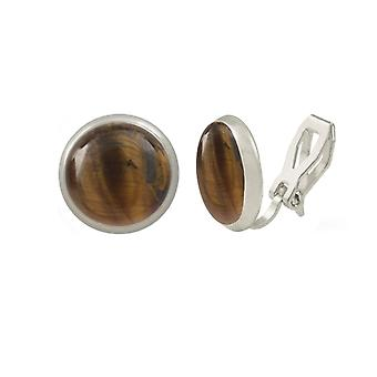 Eternal Collection Symphony Tiger's Eye Silver Stud Clip On Earrings