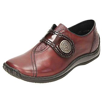 Rieker sapatos de couro liso L1760-35 cinta de patente