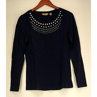 Motto Top Long Sleeve Stretch Knit W/ Metal Accents Blue Womens