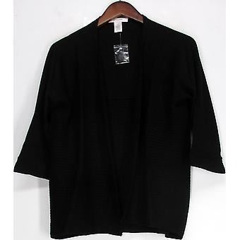 Liz Claiborne York 3/4 Sleeve Ribbed Open Cardigan Black a222156