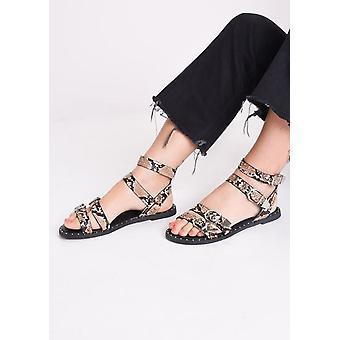 Snake print bezaaid platte sandalen multi