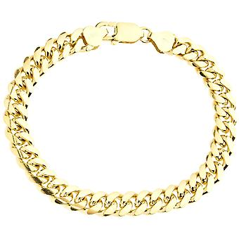 Sterling 925 silver tank chain bracelet - MIAMI 8mm gold